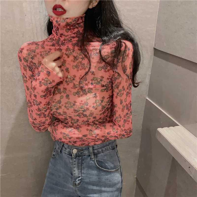 Hi Girl New Spring All Match T shirt Turtleneck Long Sleeve Lace Florals Tees Thin Slim Chic Korea Stretch Basic Tshirts Female