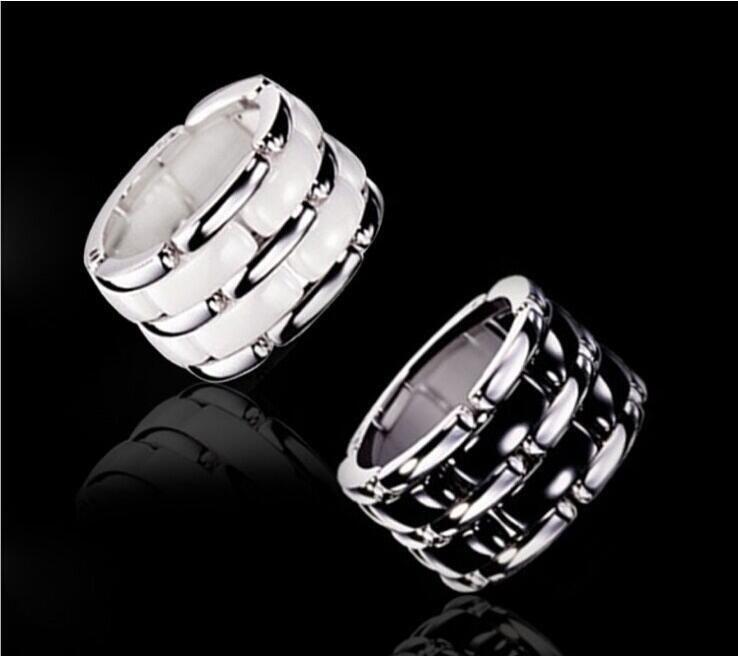 Luxe Noir / Blanc double rangée chaîne en céramique style anneaux, en platine plaqué titane Acier inoxydable Bijoux Femmes / Hommes --- Taille 5 à 12