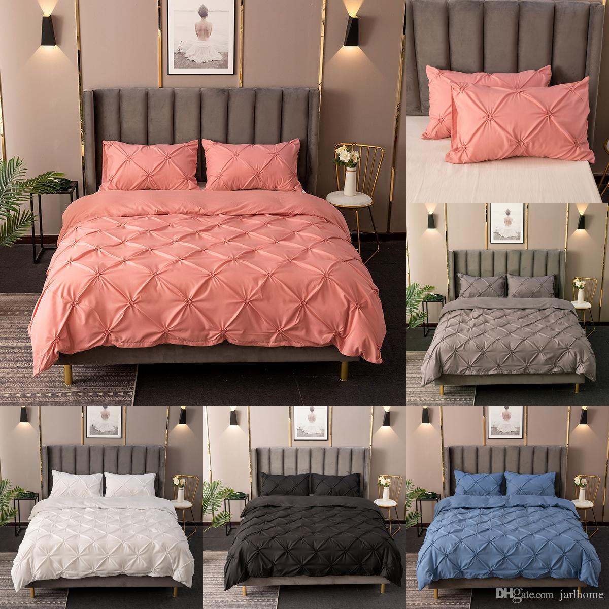 Jarl Home Three-dimensional Embossing Bedding Sets with Zipper Elastic Solid Color Quilt Cover and Pillowcases 3 Pieces Sheet Set