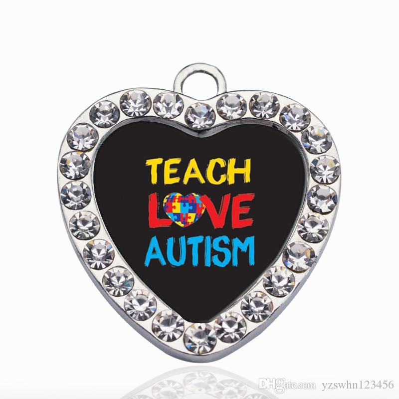 Enseñar amor autismo conciencia círculo encanto cobre colgante para collar pulsera conector mujer regalo accesorios de joyería