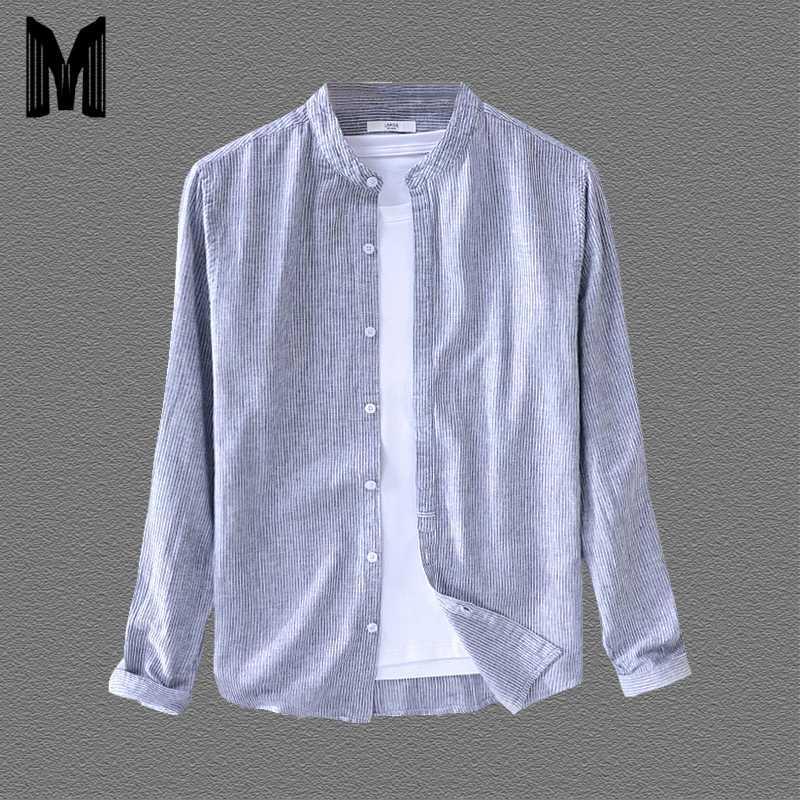 Yeni Gömlek Erkekler% 55 Keten% 45 Pamuk Çizgili Uzun Kollu Gömlek Nefes Nedensel Giyim Y1661 Soğuk