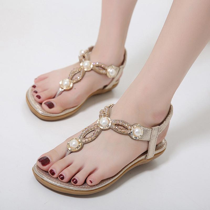 Fashion Frauen Thong Sandalen T-Typ öffnen Toe Strass flache Unterseite römische Sandalen 2020 Sommer Flip Flop Schuhe Sandalia # g5