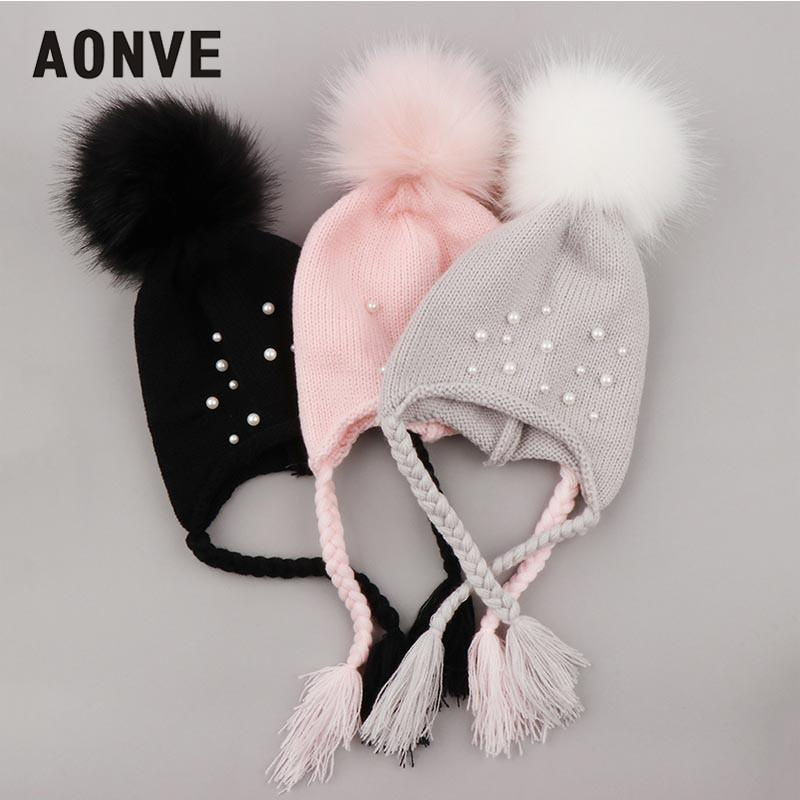 Aonve Baby Winter Beanies Kawaii Pompom Knitted Skullcap Warm Hiver Small  Beanie Knit Headwearing Pink Gray Black Bonnet e340f56b805