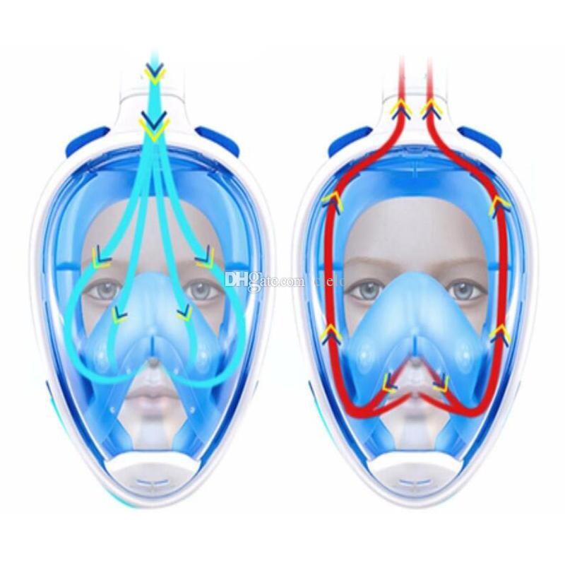أجهزة الغوص الجديدة قناع الغوص تحت الماء ضد الضباب الوجه الكامل قناع الغوص تغطس النساء الرجال السباحة الغوص