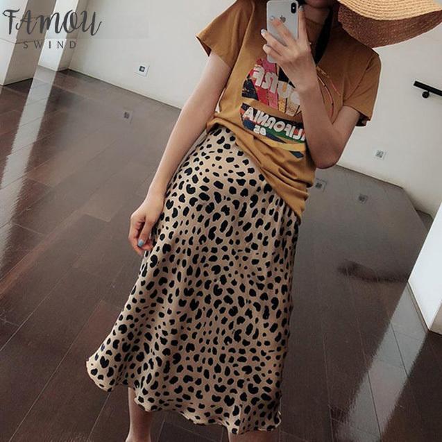 Vintage Summer Womens Skirt Empire Leopard Print Femme Rock Korean Style Skirts Boho Streetwear Jupe Punk