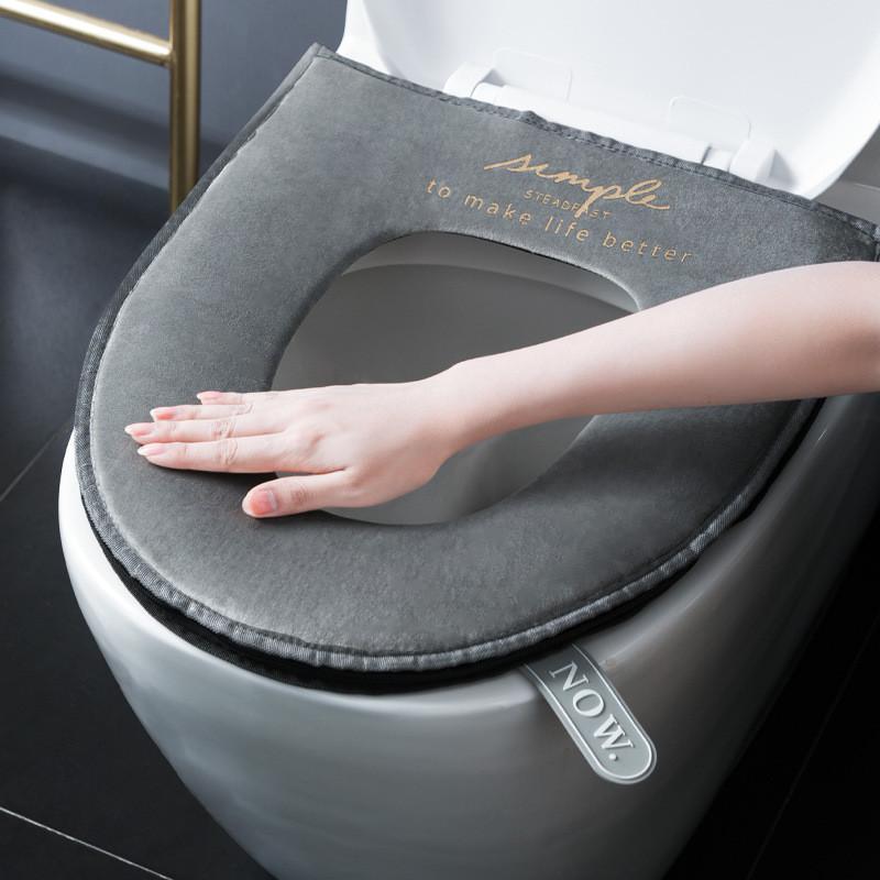 Nordic general closestool mat cushion winter sit toilet toilet seat cushion package plus velvet toilet pull chain