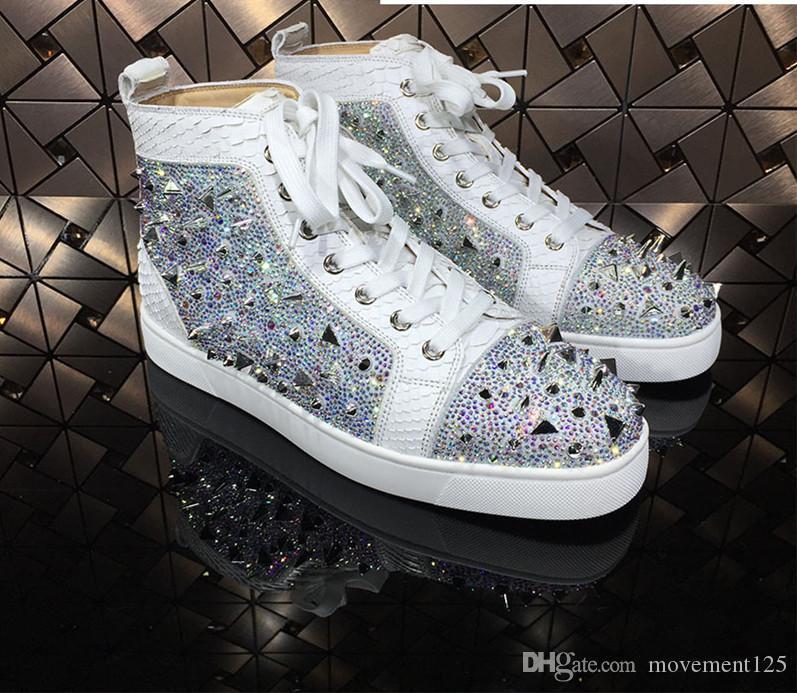 2019 Elegante inferiore rossa SNEAKERS ALTE Python Lines in pelle con lucida Mix Rivetti Spikes partito Wedding Fashion Casual Shoes