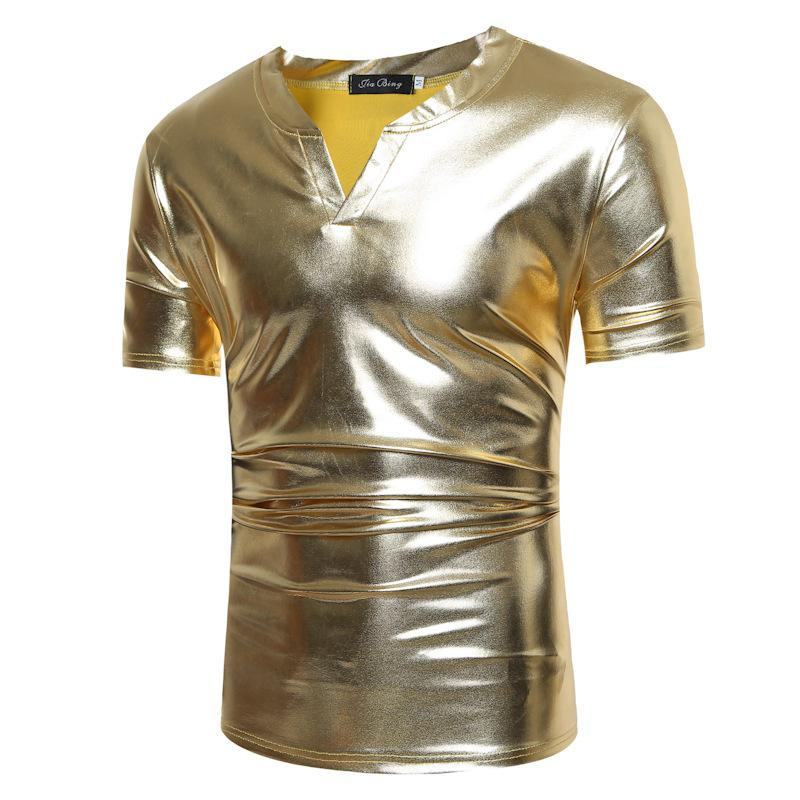 Summer new tshirt men nightclub style solid color t- shirt bronzing fabric men's casual short-sleeved V-neck t shirt