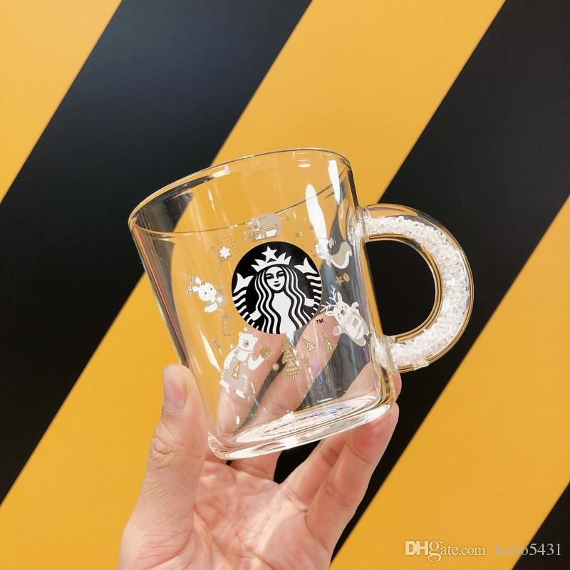 2020 New Starbucks White Crystal Diamond Handle Glass Cup