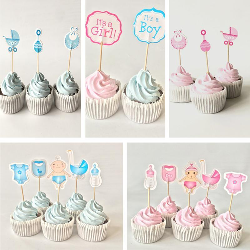 12/18 / 20pcs Baby Shower Cupcake Toppers Ragazzo Ragazza Battesimo Blu Decorazioni per feste di compleanno Per bambini Feste per feste