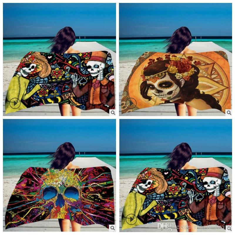 Square Print 150*75cm Beach Towel Skeleton Head Towel Superfine Fiber With Tassel Color Soft Hand DHL Free 116