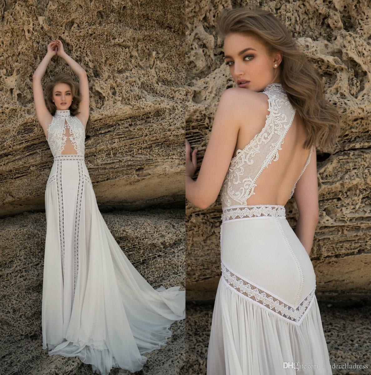 Country Style Hollow Beach Wedding Dresses abiti da sposa High Neck Backless Bridal Gown A Line Plus Size Wedding Dress