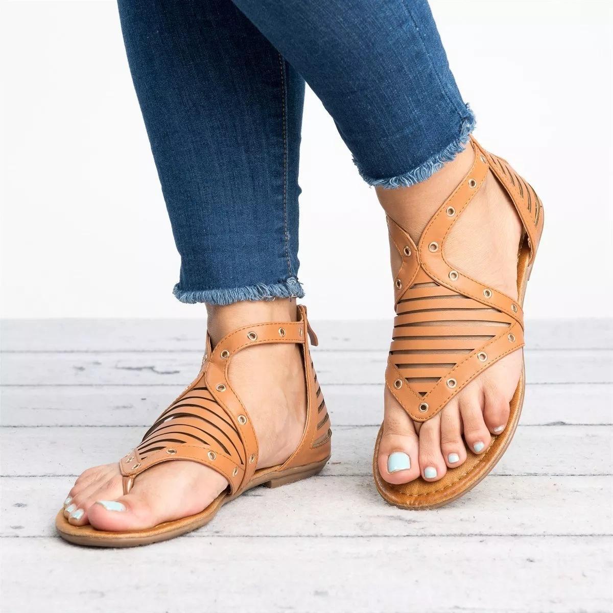 Sandálias Lucky2019 Code Will fundo plano conjunto Toe Sandals mulher coringa sapatos femininos