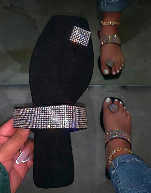 Мода алмазные Женские сандалии елочка сандалии пляжная обувь Женская плоская крышка лето
