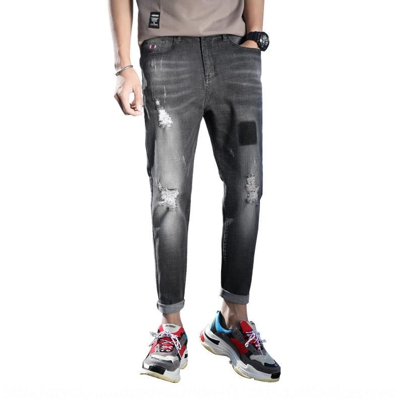 SN2Wb Jeans Frühling und Sommer Jeans der koreanischen Männer trendy schöne Männer Hosen slim fit Füße Allgleiches Neun-Punkte-Arthosen