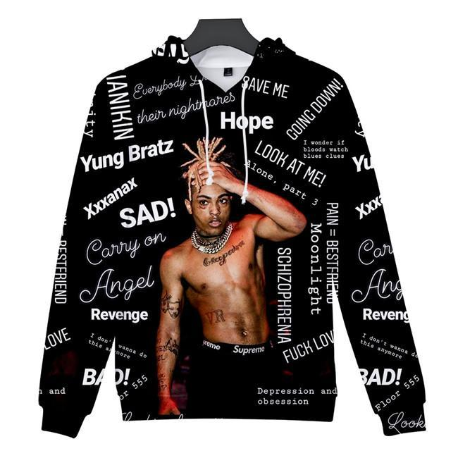 3D stampati RIP Top Mens Felpe USA Rapper manica lunga causali Abbigliamento Xxxtentacion Mens Hoodies