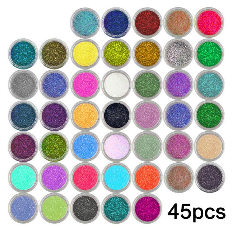 45pcs 네일 반짝이 모듬 된 색상 네일 아트 파인 글리터 파우더 먼지 UV 젤 폴란드어 아크릴 네일 팁 메이크업 도구