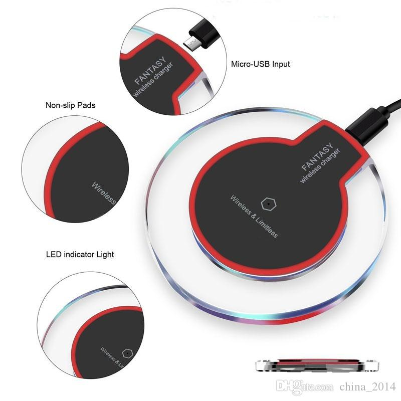Qi chargeur de téléphone sans fil Portable cristal fantaisie universel LED éclairage tablette de charge pour Samsung Galaxy S10 S9 8 Iphone XS Max XR X 8 7