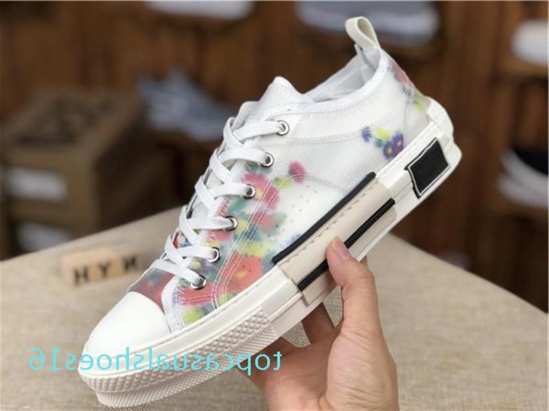Оптовая продажа 19ss цветы технические холст 2019 B24 высокий топ кроссовки в Косой мужской бренд B23 дизайнерская обувь Женская мода TR16