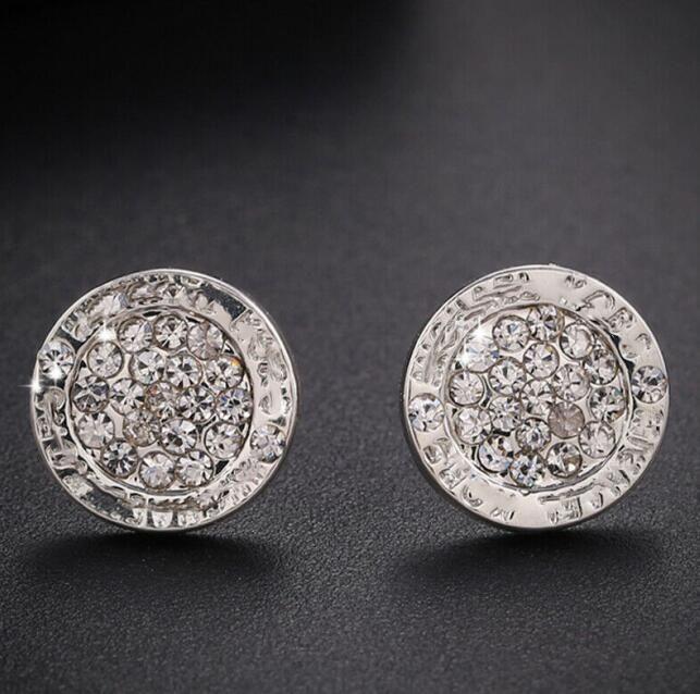 Wedding Earrings for Women Round Gem Crystal Studs Luxury Gold Silver Plated Earring Womens Earing Ear Ring Lady Earings Girl Stud Jewelry89