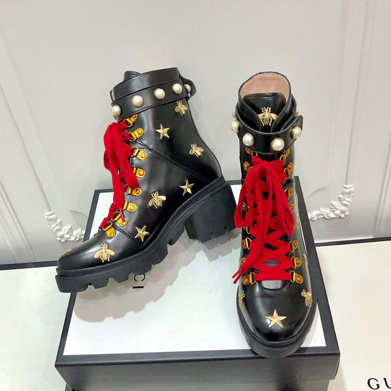 Fashion Frauen Martin Stiefel Leder schwere Sohlen Mit Mädchen Stiefeletten Luxuxhochzeitsgeschenk Schuhe Winterstiefel hohe Qualität der großen Größe 10