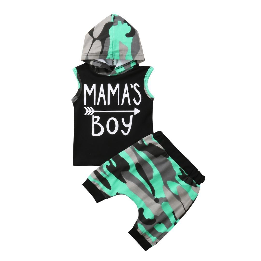 Sommer neugeborene Kinder Pfeil Junge Sets Baby Camouflage Hoodie Tops T-Shirt + kurze Hosen Sets