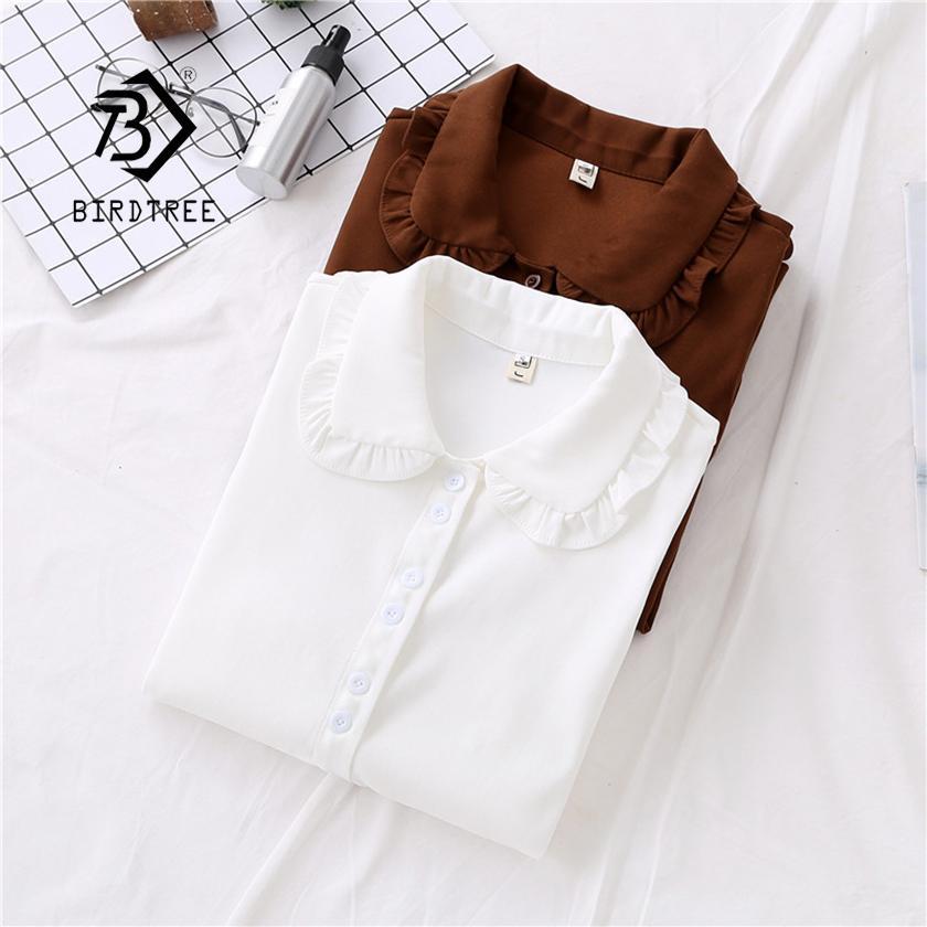 Nueva llegada sólido collar de Peter Pan blanco acanalado botón de camisa de manga farol hasta marrón ocasional dulce de la blusa Femenina Blusa
