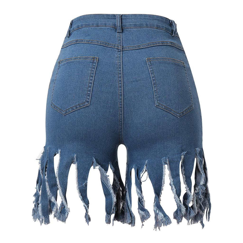 Wholesale- Summer Short Jeans Denim Female Pockets Wash Denim Tassel Hot Pants hot sale clothing