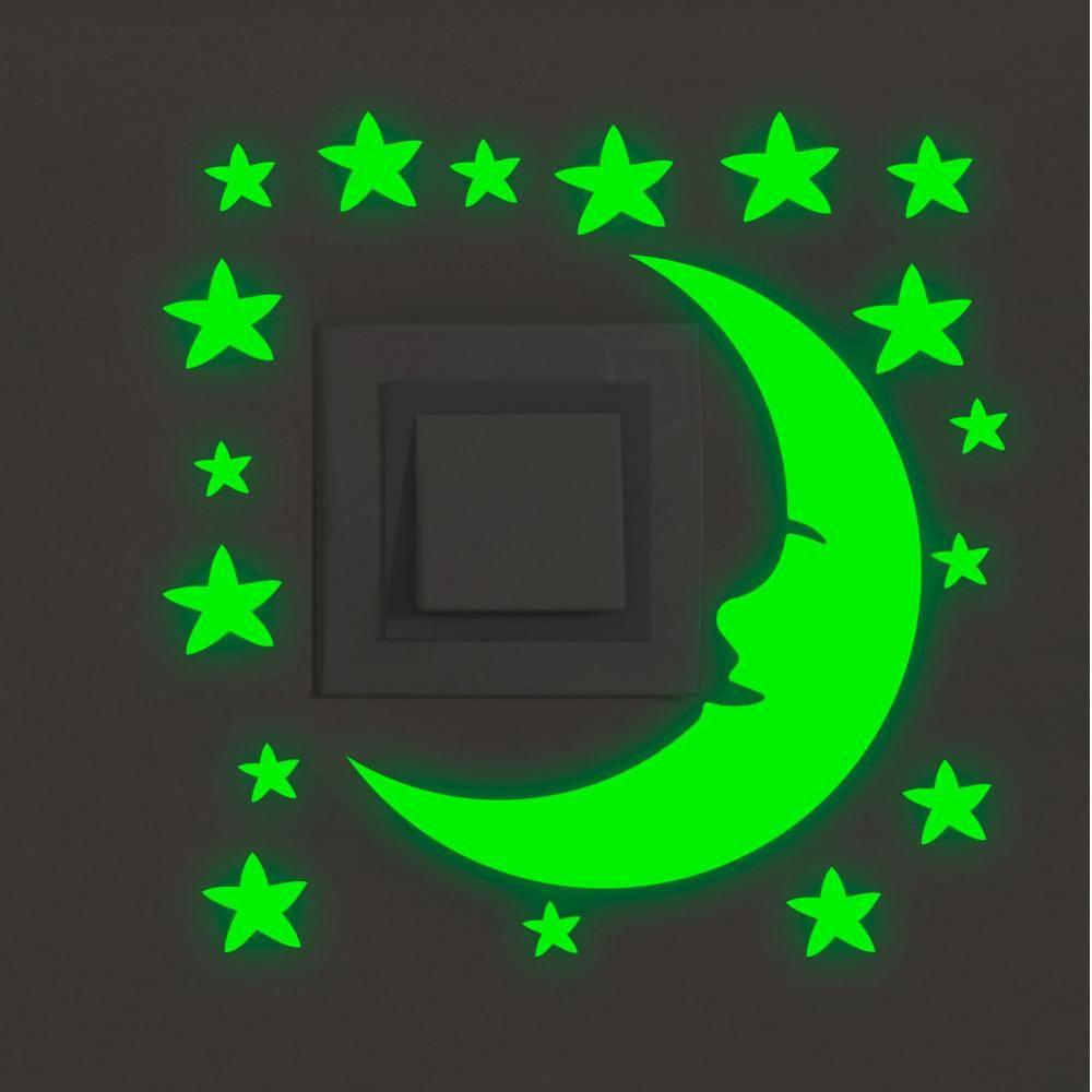 Зеленый свет Световой мультфильм переключатель наклейка светится в темноте кошка наклейка флуоресцентная Фея луна звезды наклейка детская комната домашнее украшение