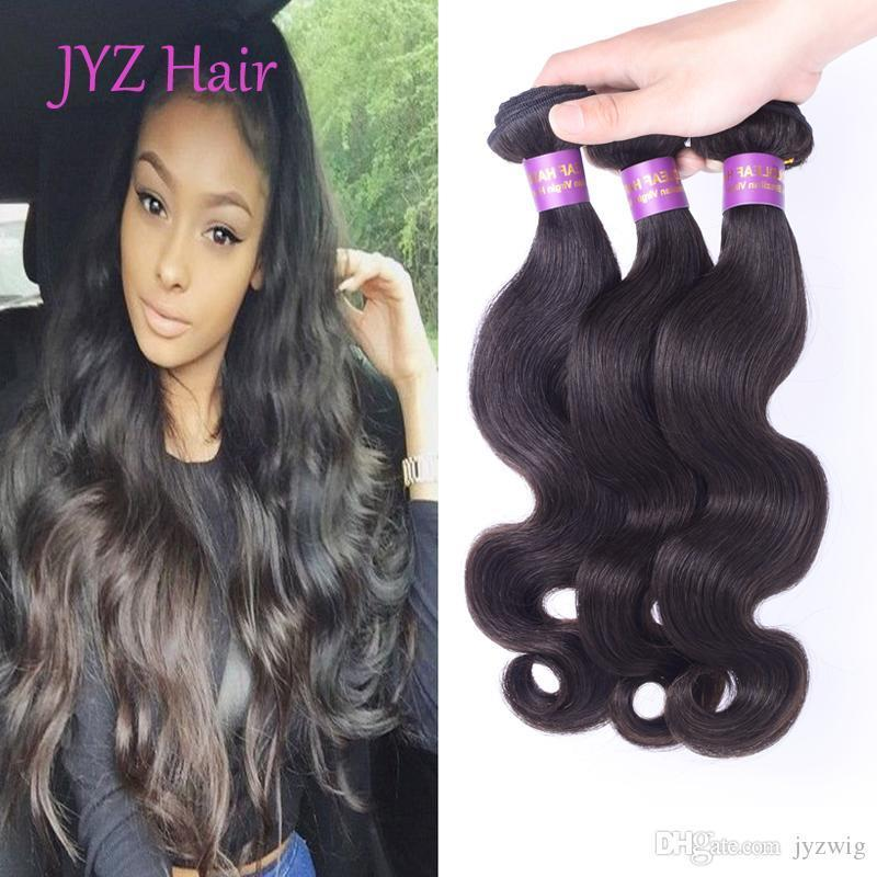 Great Quality Body Wave Malaysian Peruvian Brazilian Indian Virgin Human Hair Wefts 3 Bundles Natural Color Human Hair Weave Extensions