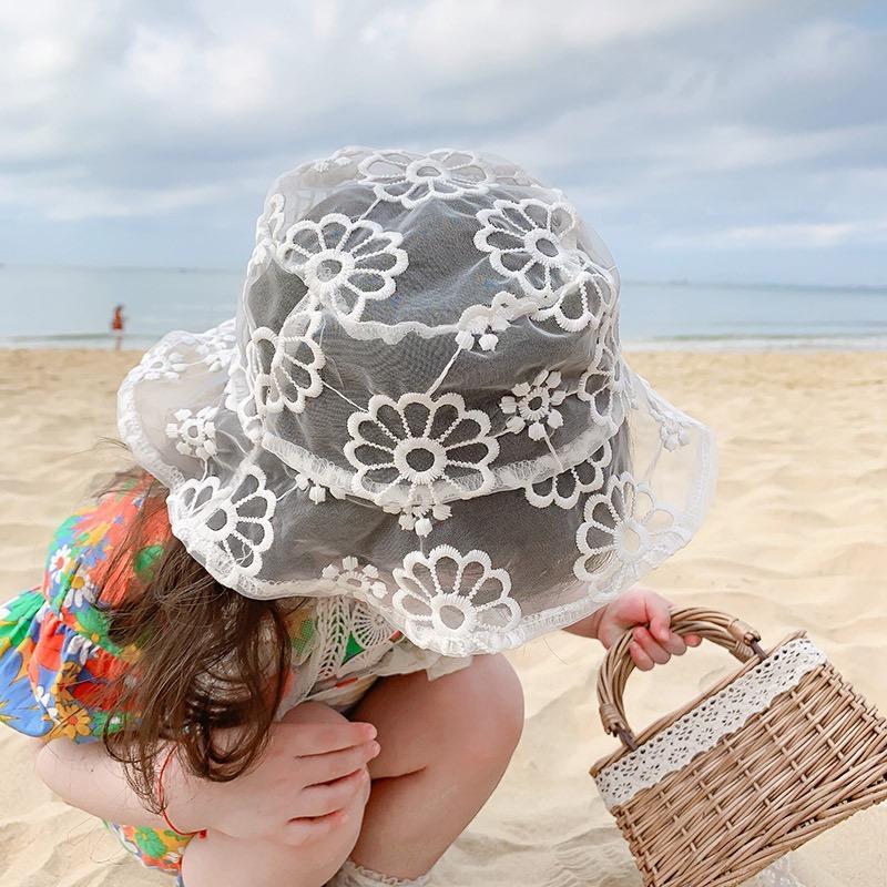2020 Кружева Дети Bucket Hat Summer Flower Princess Детские Hat для пляжа путешествия Девушки ВС Дети Cap