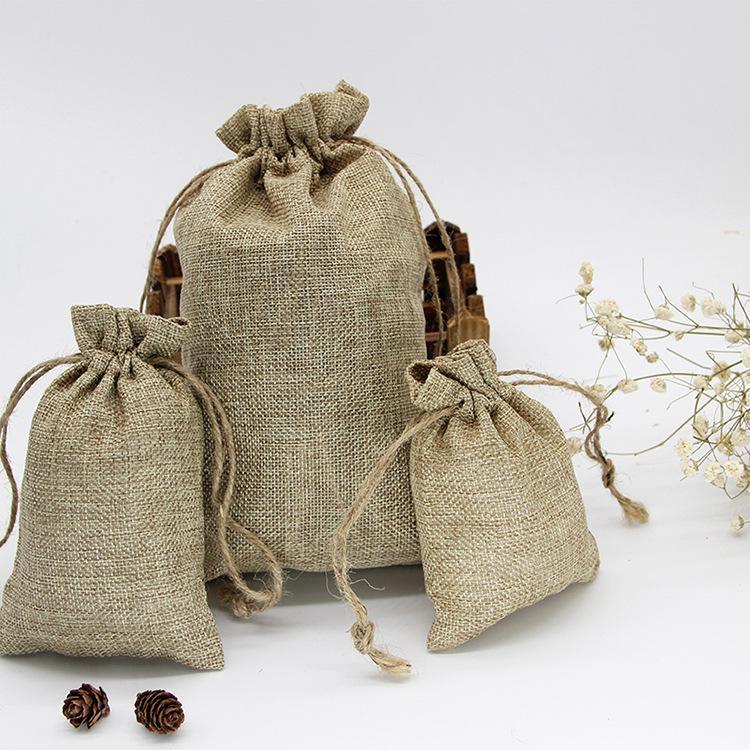 Presente do Dia das Bruxas Natal da festa de aniversário com cordão de juta serapilheira presente Retro Vintage Bags casamento Embrulho de Hesse Bags
