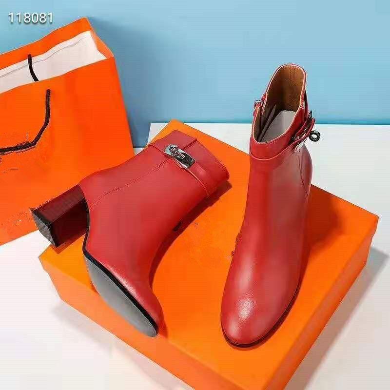 كيلي بكلات النساء أزياء فستان الزفاف الكاحل الأحذية 19ss أحمر أصفر النسائية أحذية مارتن الأحذية ذات الكعب مكتنزة السيدات الأحذية والجلود الرومانية