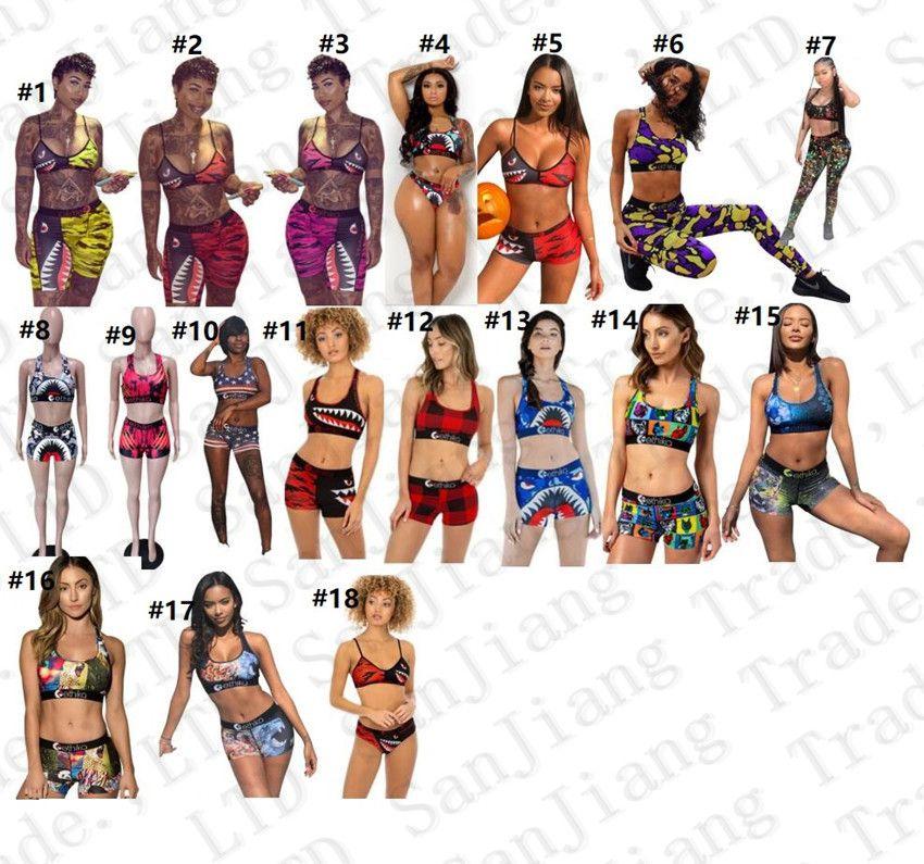 a forma di I costume da bagno femminile della maglia Reggiseno push-up Shorts 2 tute Set Bikini Cartoon Shark Patchwork nuotata della spiaggia di Tankini E22908