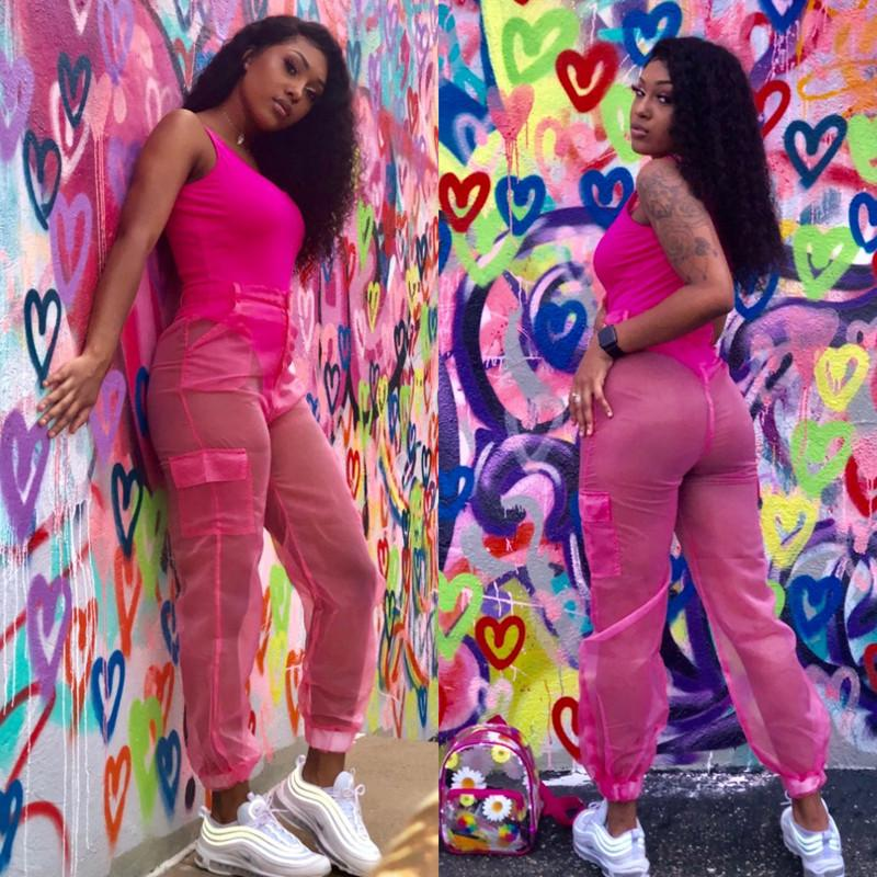 Sexy Two Piece Set Bodysuit Top and Mesh Pants Neon Pink Green Summer 2 Piece Club Outfits Matching Sets