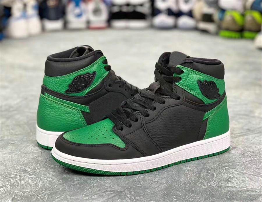 Nouveaux 1s Cour top Green Pine Violet 1 Mens Basketball Designer Chaussures Vert Toe I Mode Sport Chaussures