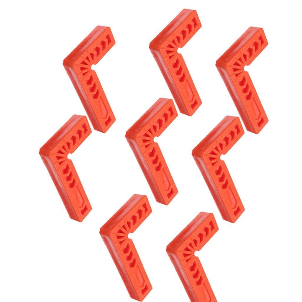 8 paquetes de 90 Squares Grado de posicionamiento, la herramienta del carpintero de plástico en ángulo recto Abrazaderas Tratamiento de la madera, de 10 cm / 4 pulgadas