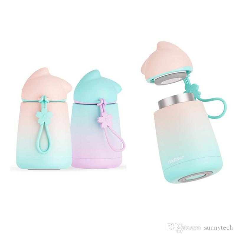 Termo de Gato Lindo Botella de Agua de Acero Inoxidable Botella T/érmica Aislada Termo de Vac/ío Lindo de Viaje para Mujeres y Ni/ños Rosa