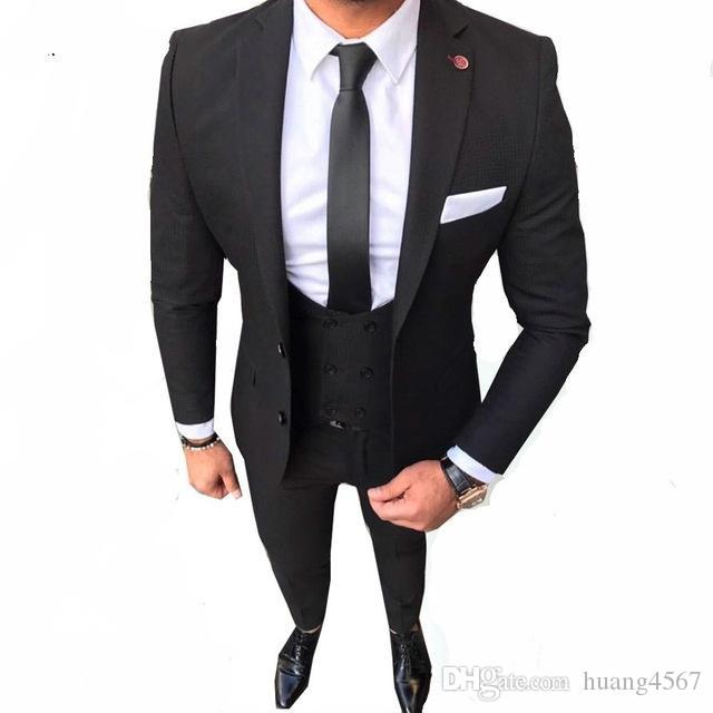 새로운 슬림 맞는 두 개의 단추 블랙 웨딩 신랑 턱시도 노치 옷깃 Groomsmen 남자 정장 댄스 파티 블라우스 (재킷 + 바지 + 조끼 + 넥타이) 176