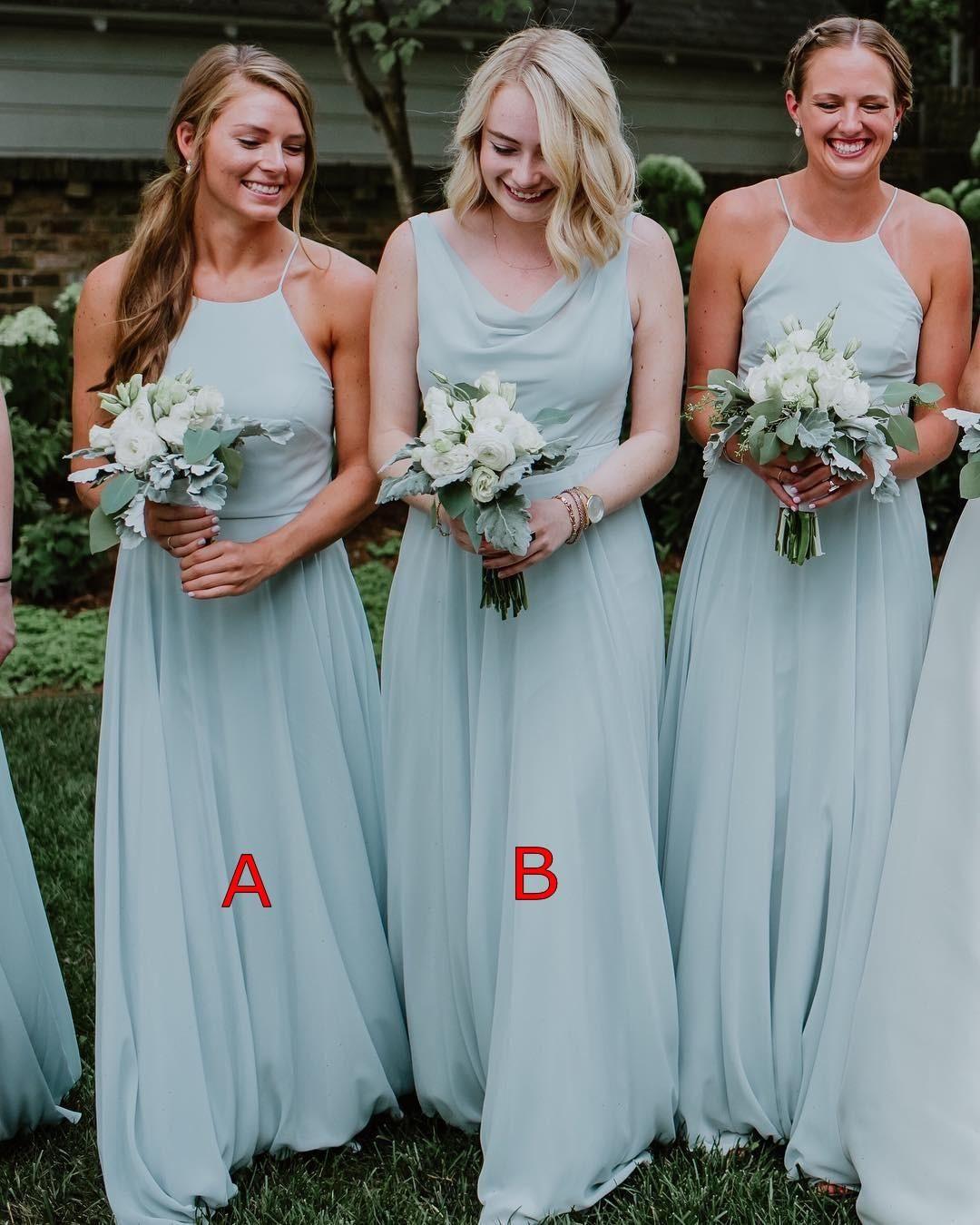 Cheap Simple Mint Green A Line Bridesmaid Dresses Chiffon Pleats Wedding Guest Dress Maid of Honor Gowns abiti da damigella d'onore