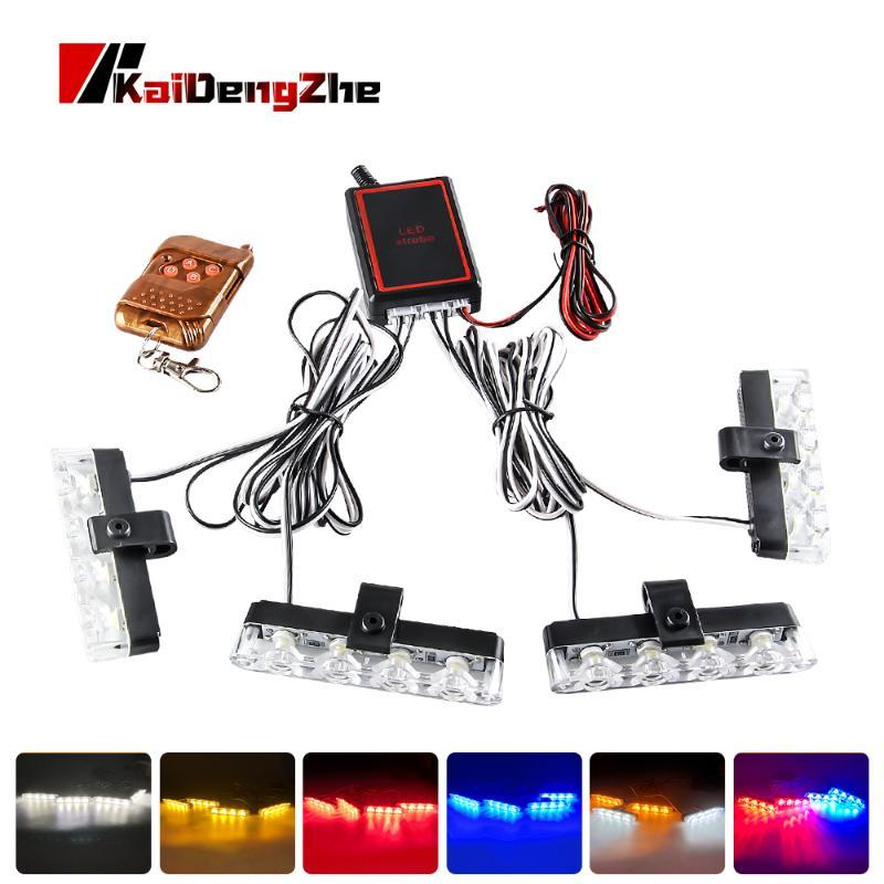4X4 LED Wireless Remote Strobe Light Beacon Light For Truck Emergency Warning Flashing Firemen Car Interior 12-24V