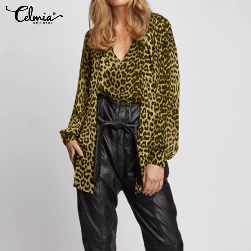 Celmia partito della stampa del leopardo camicetta Ufficio Donne Papillon Moda Camicia a maniche lunghe casuale allentato delle parti superiori Blusas Plus Size S-5XL