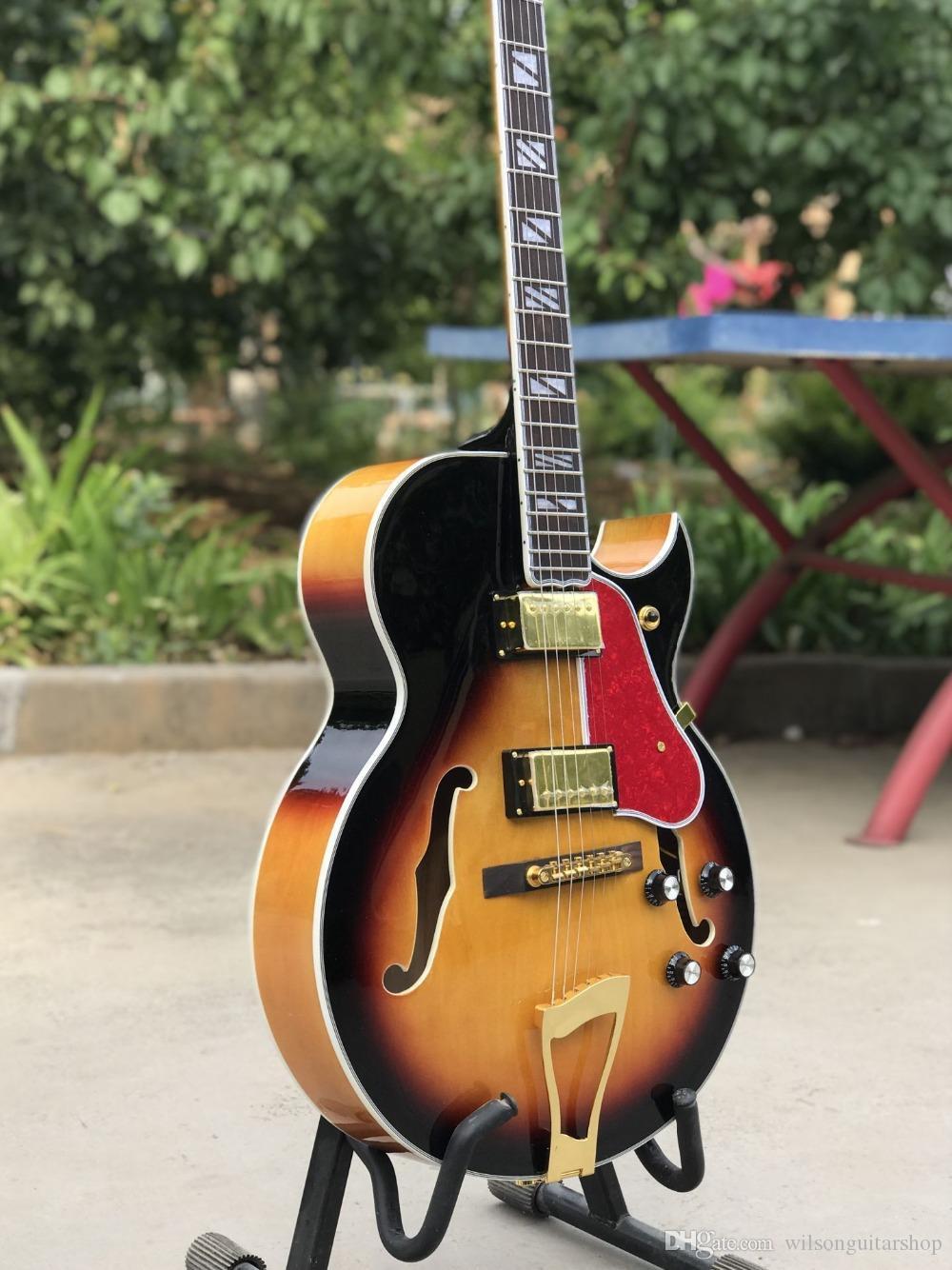 Nuovo stile, Porcellana F chitarra elettrica vuota del corpo di jazz, Sunburst vibrato guitarra sistema