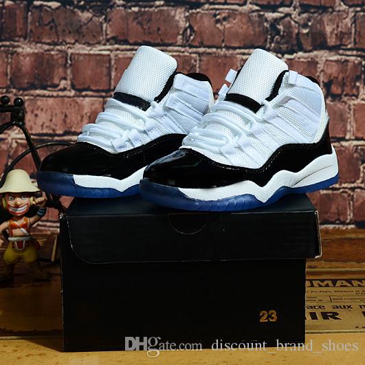 С коробкой дети 11 Xi 11s Concord 45 белый черный мальчик девушка баскетбол обувь Высокий нарезанный дети малышей на открытом воздухе мода спортивные кроссовки