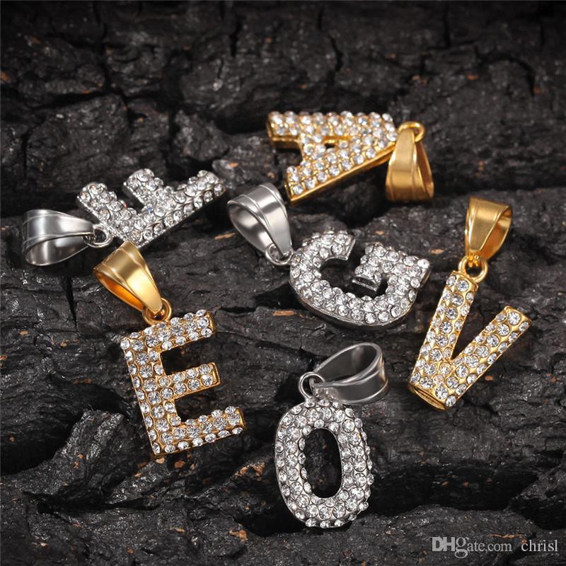 Hip Hop collana dell'acciaio inossidabile ha ghiacciato fuori dei monili dei diamanti regalo Piccole lettere del pendente della collana in oro placcato argento Mens Bling