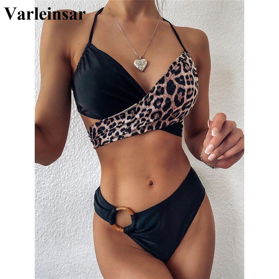 2020 cintura Bikini Mid Female Swimsuit Swimwear Dois peças Bikini set emenda Leopard Banhista Terno Swim Lady V2148 MX200613
