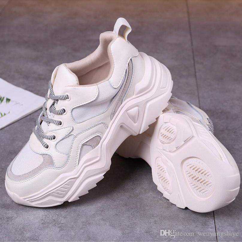 New winter Designer Shoe Lace-Up Women Shoes Men's Leather Lace Up Platform Oversized Sole Sneakers White Beige Casual Shoes With Box