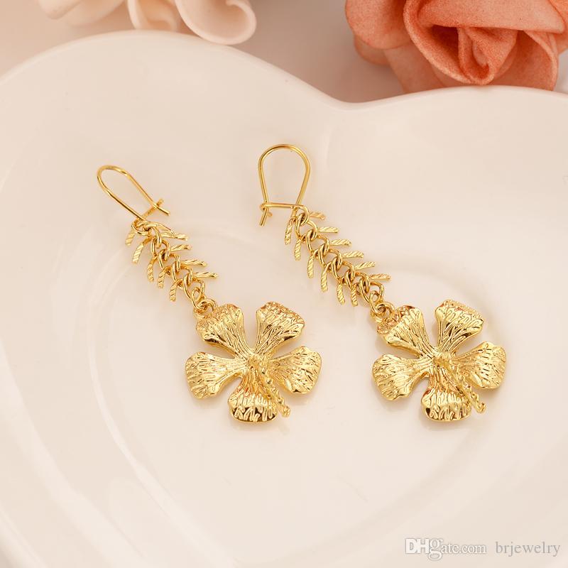 24 Karat vergoldet Fishbone Kette Blume Quaste einfache Dubai Indian Ball Braut Schmuck Ohrringe Hochzeit Engagement Souvenir Geschenk