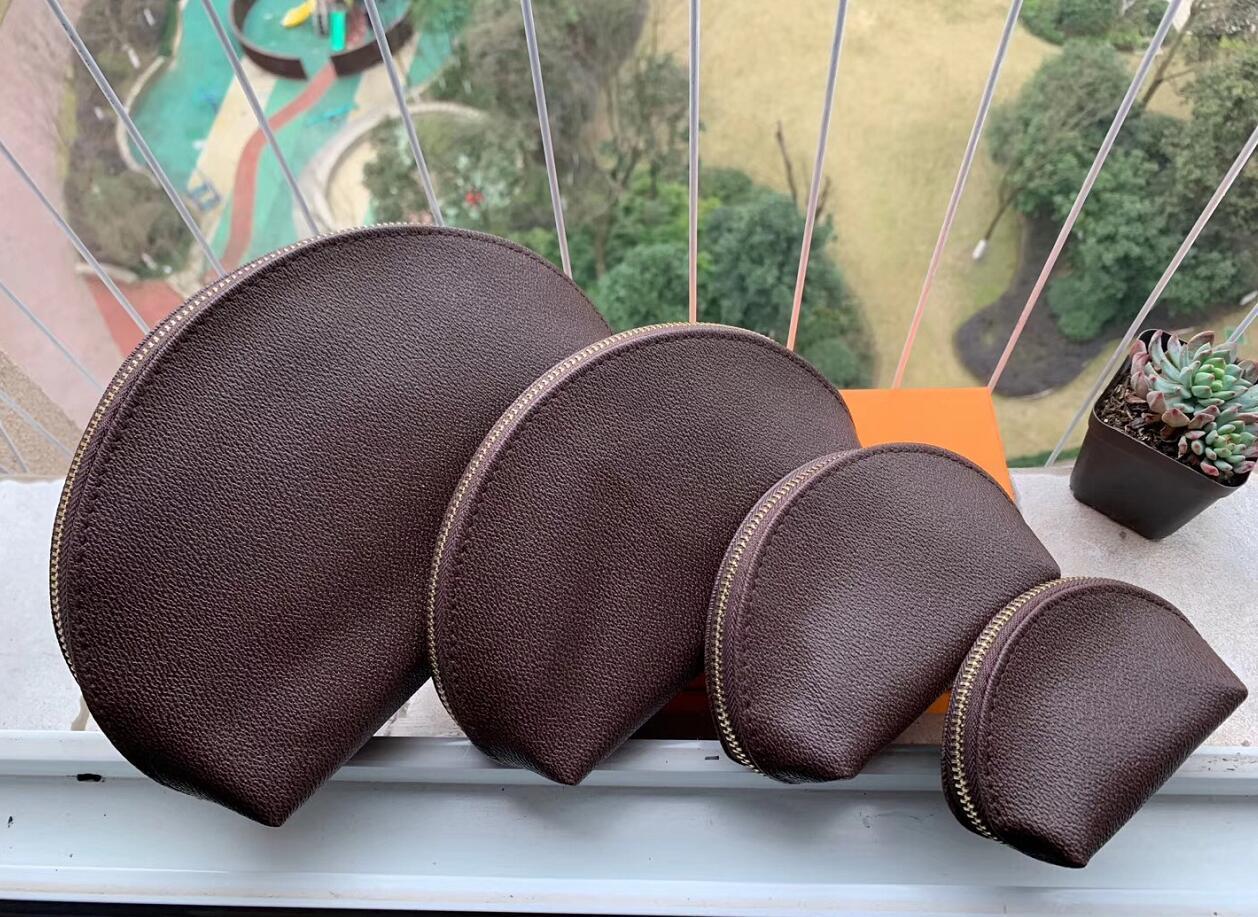 Conjunto de 4 cuero dama maquillaje bolsa cosmética maquillaje bolsa embrague colgando artículos de tocador kit de viaje organizador casual bolso
