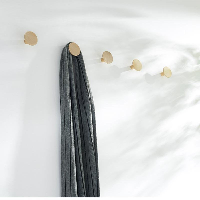 Runde aus massivem Messing Wand befestigter Hänge Porch Haken Garderobe Mantel Hut Key Hanger Haken Modernes Design